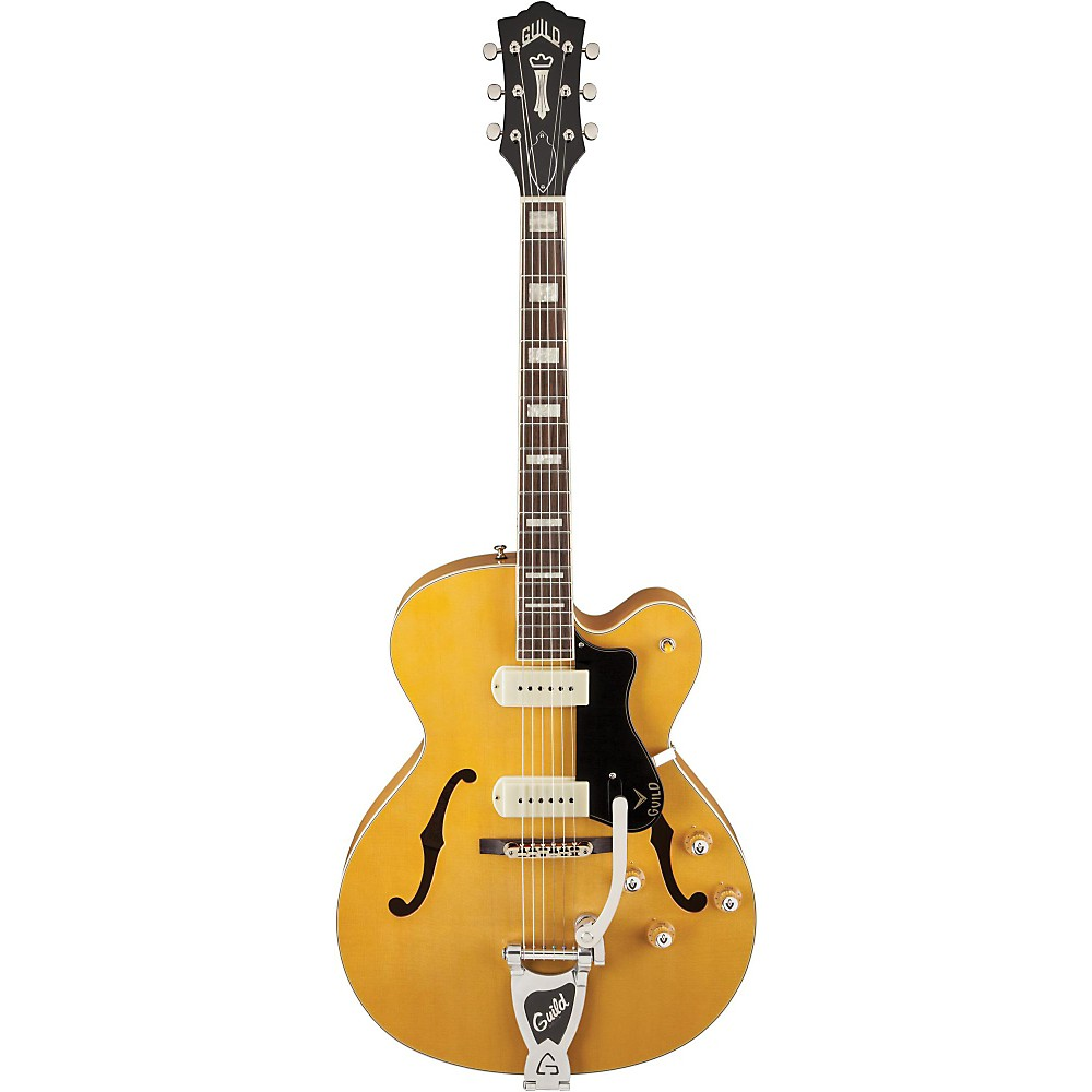Guild X-175B Manhattan Hollowbody Archtop Electric Guitar with Guild Vibrato Tailpiece Blonde 1381773081144