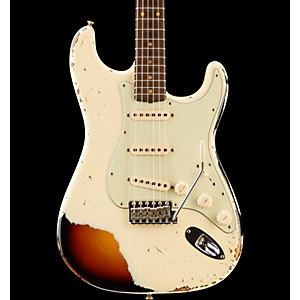Fender Custom Shop '60S Stratocaster Heavy Relic Electric Guitar Vintage White Over 3-Tone Sunburst