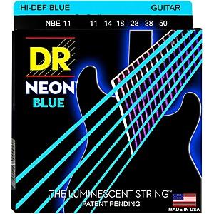 Dr Strings Hi-Def Neon Blue Coated Medium (11-50) Electric Guitar Strings