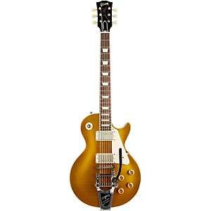 Gibson Custom 1957 Les Paul Reissue Lightly Aged Electric Guitar With Bigsby Antique Gold