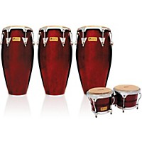 Lp Performer Series 3-Piece Conga And Bongo Set With Chrome Hardware Dark Wood