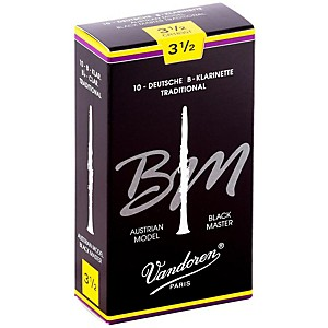 Vandoren Black Master Traditional Bb Clarinet Reeds Box Of 10, Strength 3.5