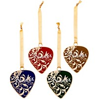 Fender Pick Christmas Ornaments (Set Of 4) Various Colors