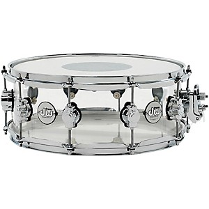 Dw Design Series Acrylic Snare Drum With Chrome Hardware 14X5.5 Inch Clear