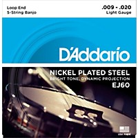 D'addario Ej60 Nickel 5-String Light Banjo Strings (9-20)