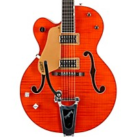 Gretsch Guitars G6120ssu Brian Setzer Nashville Left-Handed Semi-Hollow Electric Guitar Tiger Flame Orange Urethane