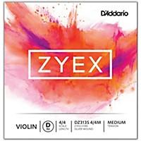 D'addario Zyex Series Violin D String 4/4 Size Medium Silver