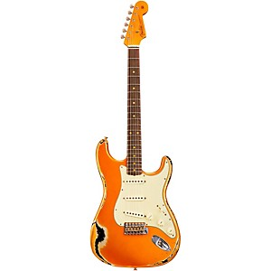 Fender Custom Shop 1962 Heavy Relic Stratocaster Electric Guitar Faded Candy Tangerine Over Black Rosewood