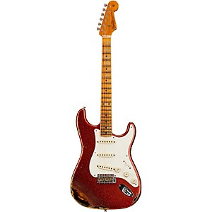 Fender Custom Shop 1957 Heavy Relic Stratocaster Electric Guitar Red Sparkle Over 2-Tone Sunburst Maple