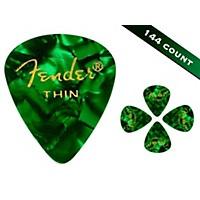 Fender 351 Premium Thin Guitar Picks 144 Count Green Moto