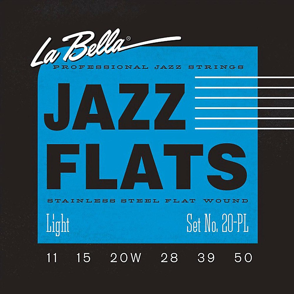 LaBella 20PL Jazz Flats Stainless Steel Flat Wound Light Electric Guitar Strings 1430146864593