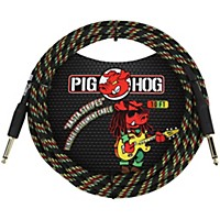 Pig Hog Instrument Cable 10 Ft. Rasta Stripes