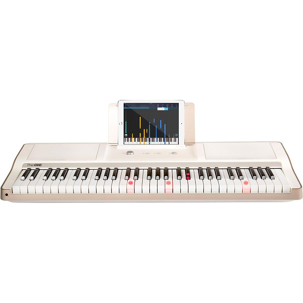 The One Music Group The One Smart Piano 61-Key Portable Keyboard White 1443624096583