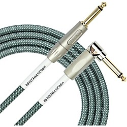 Kirlin Premium Plus Straight To Right Angle Instrument Cable, Olive Green Woven Jacket 20 Ft.