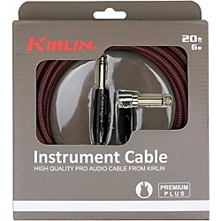 Kirlin Premium Plus Straight To Right Angle Instrument Cable, Black/Red Woven Jacket 20 Ft.