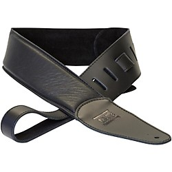 Dr Strings Premium Glove Leather Guitar Strap With Suede Interior Black