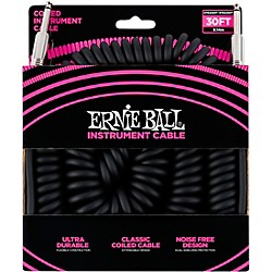 Ernie Ball Coiled Straight-Straight Instrument Cable Black 30 Ft.