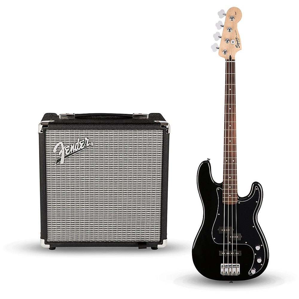Squier Affinity Series PJ Bass Pack with Fender Rumble 15W 1x8 Bass Combo Amp Black