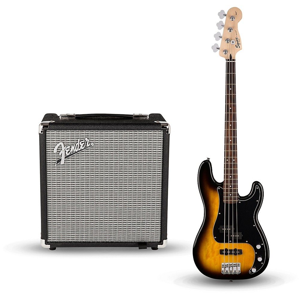 Squier Affinity Series Pj Bass Pack With Fender Rumble 15W 1X8 Bass Combo Amp Brown Sunburst
