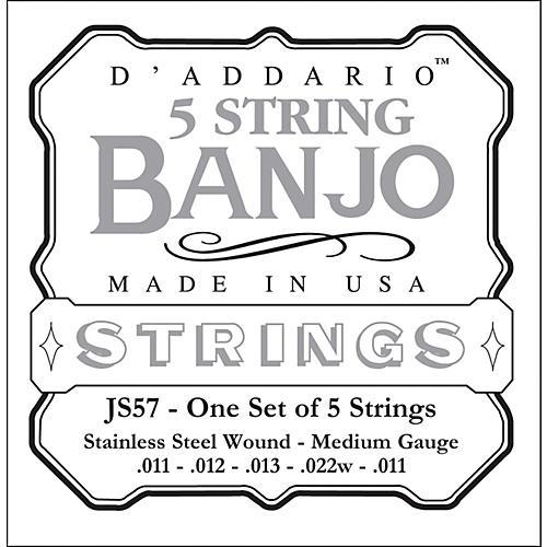 D'Addario JS57 Stainless Steel Medium Banjo Strings