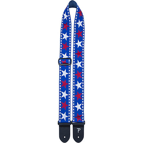 Perri's Jacquard Stars Guitar Strap Red, White and Blue 2 In.