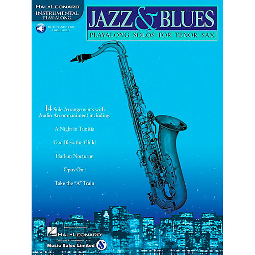 Hal Leonard Jazz And Blues Playalong Solos for Tenor Sax Book/Online Audio