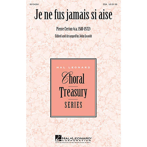 Hal Leonard Je ne fus jamais si aise SSA arranged by John Leavitt