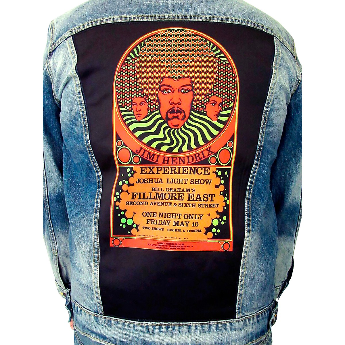 Dragonfly Clothing Jimi Hendrix Experience 3 Faces - Psychedelic Denim Jacket