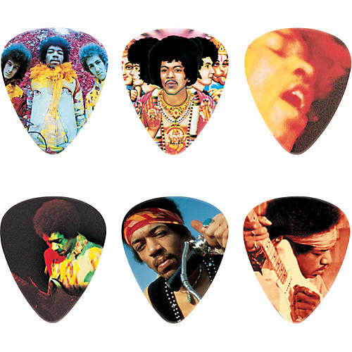 dunlop jimi hendrix montage pick tin with 6 heavy picks guitar center. Black Bedroom Furniture Sets. Home Design Ideas
