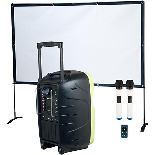 VocoPro K-Cast Battery-Powered Karaoke Machine with LED Projector and Screen