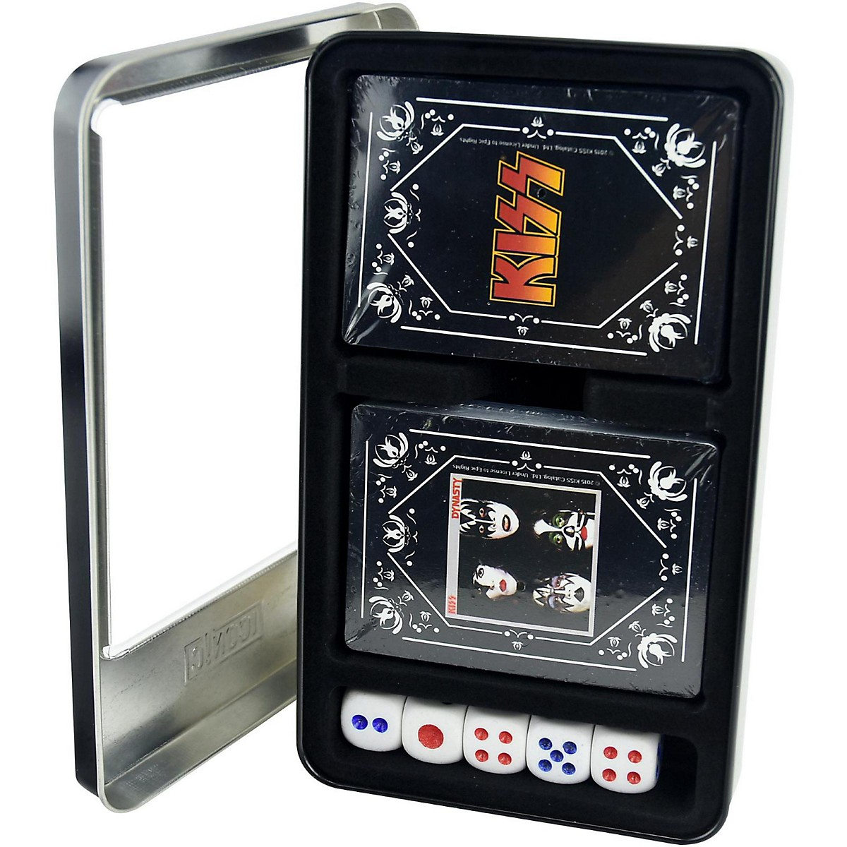 Iconic Concepts KISS - Dynasty/KISS Logo Double Deck Playing Card Set with Dice in Tin Box