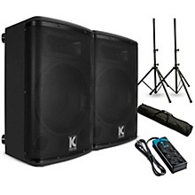 """Kustom PA KPX10A 10"""" Powered Loudpeaker Pair with Stands and Power Strip"""