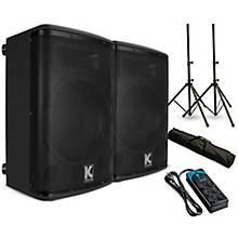 """Kustom PA KPX15A 15"""" Powered Speaker Pair with Stands and Power Strip"""