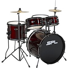 Sound Percussion Labs Kicker Pro - 5 Piece Drum Set with Stands, Cymbals, and Throne Level 1 Wine Red