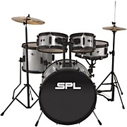Kicker Pro - 5 Piece Drum Set with Stands, Cymbals, and Throne Silver Metallic Glitter