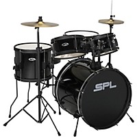 Sound Percussion Labs Kicker Pro 5-Piece Drum Set with Stands, Cymbals and Throne (Black)