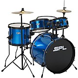 Sound Percussion Labs Kicker Pro 5-Piece Drum Set with Stands, Cymbals and Throne Metallic Liquid Blue