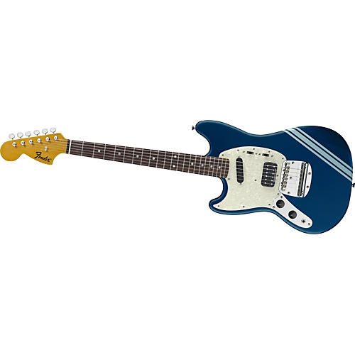 fender kurt cobain signature mustang left handed electric guitar lake placid blue with stripe. Black Bedroom Furniture Sets. Home Design Ideas