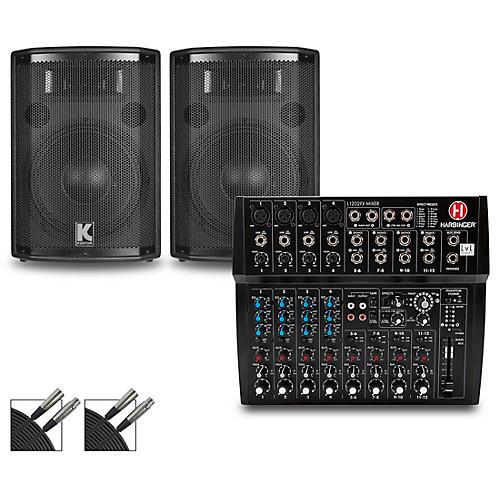 Harbinger L1202FX Mixer and Kustom HiPAC Speakers