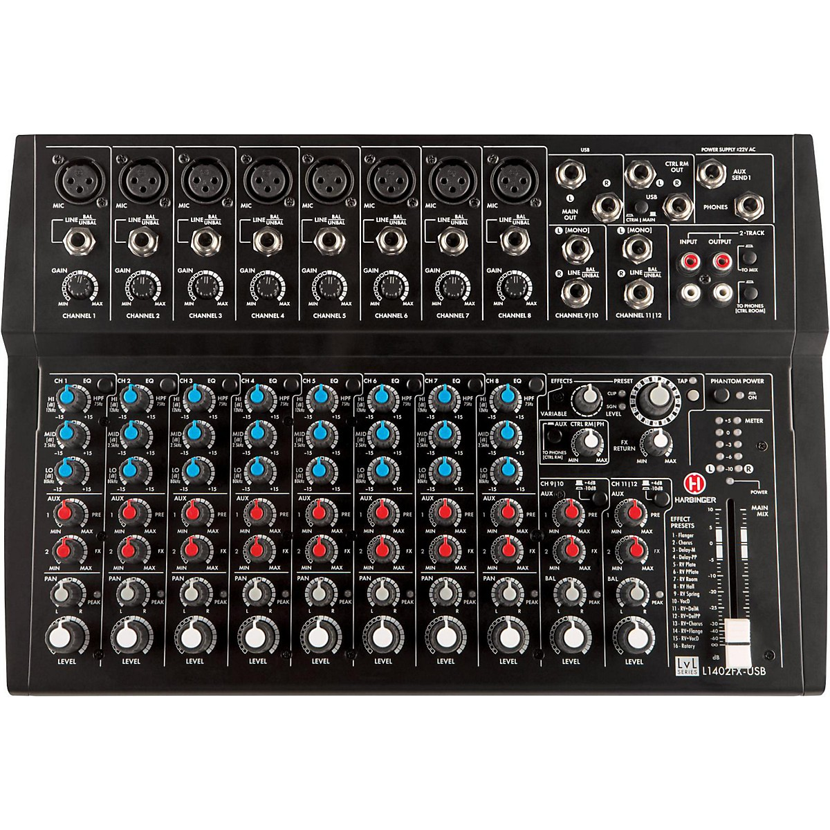 Harbinger L1402FX-USB 14 Channel mixer with Digital Effects and USB
