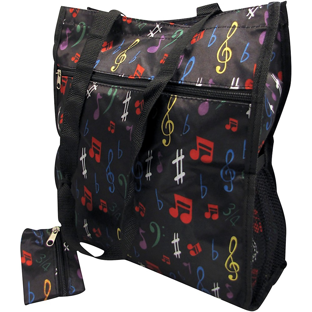 Aim Music Notes Satin Zip To Tote Bag With Change Purse Black (1500000235773 49537) photo