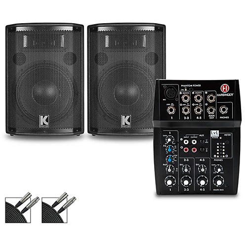 Harbinger L502 Mixer with Kustom HiPAC Speakers