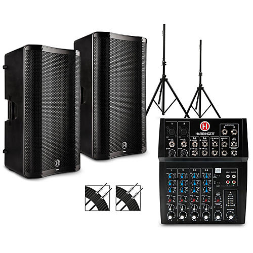 Harbinger L802 Mixer Package with VARI 4000 Series Speakers, Stands, and Cables