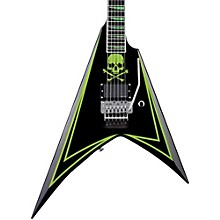 LTD ALEXI 600 Greeny Alexi Laiho Signature Electric Guitar Level 2 Black with Lime Green Pinstripe and Skull Graphic 888365936048