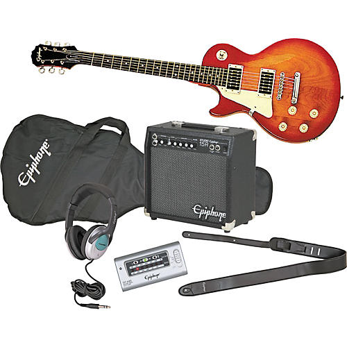 epiphone les paul 100 left handed electric guitar and all access amp pack guitar center. Black Bedroom Furniture Sets. Home Design Ideas
