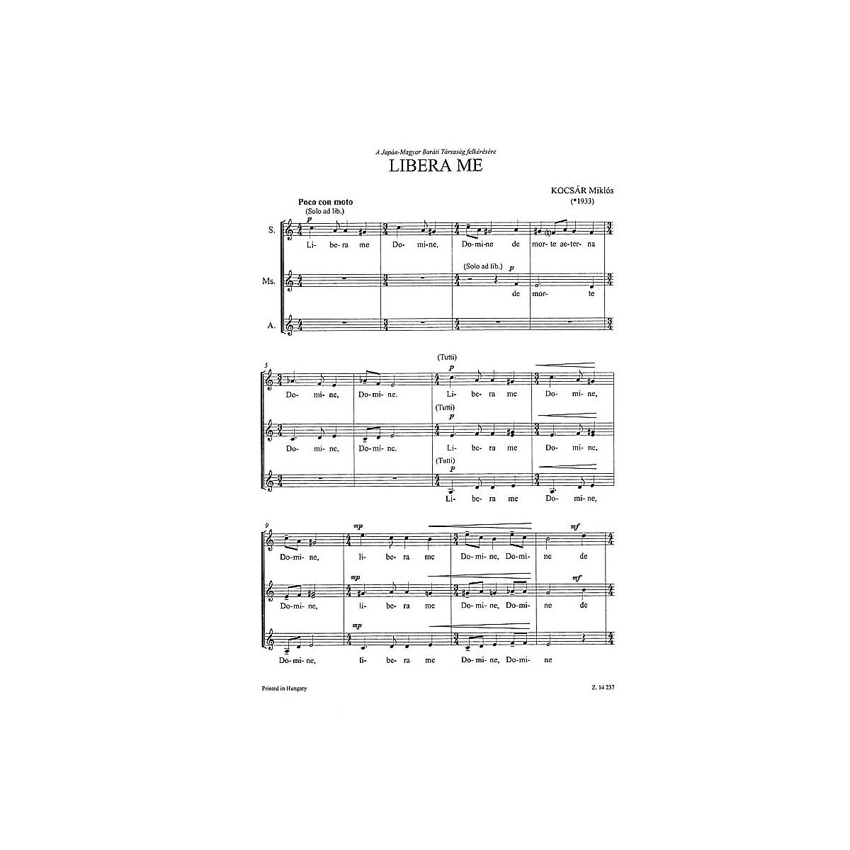 Editio Musica Budapest Libera Me SA Composed by Miklós Kocsár