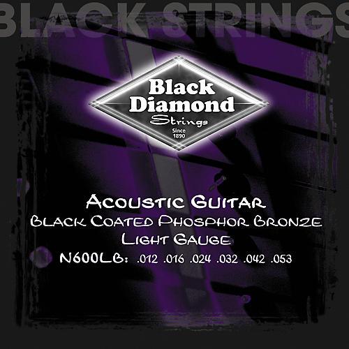 Black Diamond Light Gauge Black Coated Phosphor Bronze Acoustic Guitar Strings