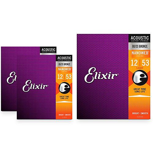 Elixir Light Nanoweb Acoustic Guitar Strings (.012-.053) 3 Pack