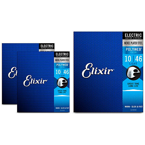 Elixir Light Polyweb Electric Guitar Strings 3 Pack