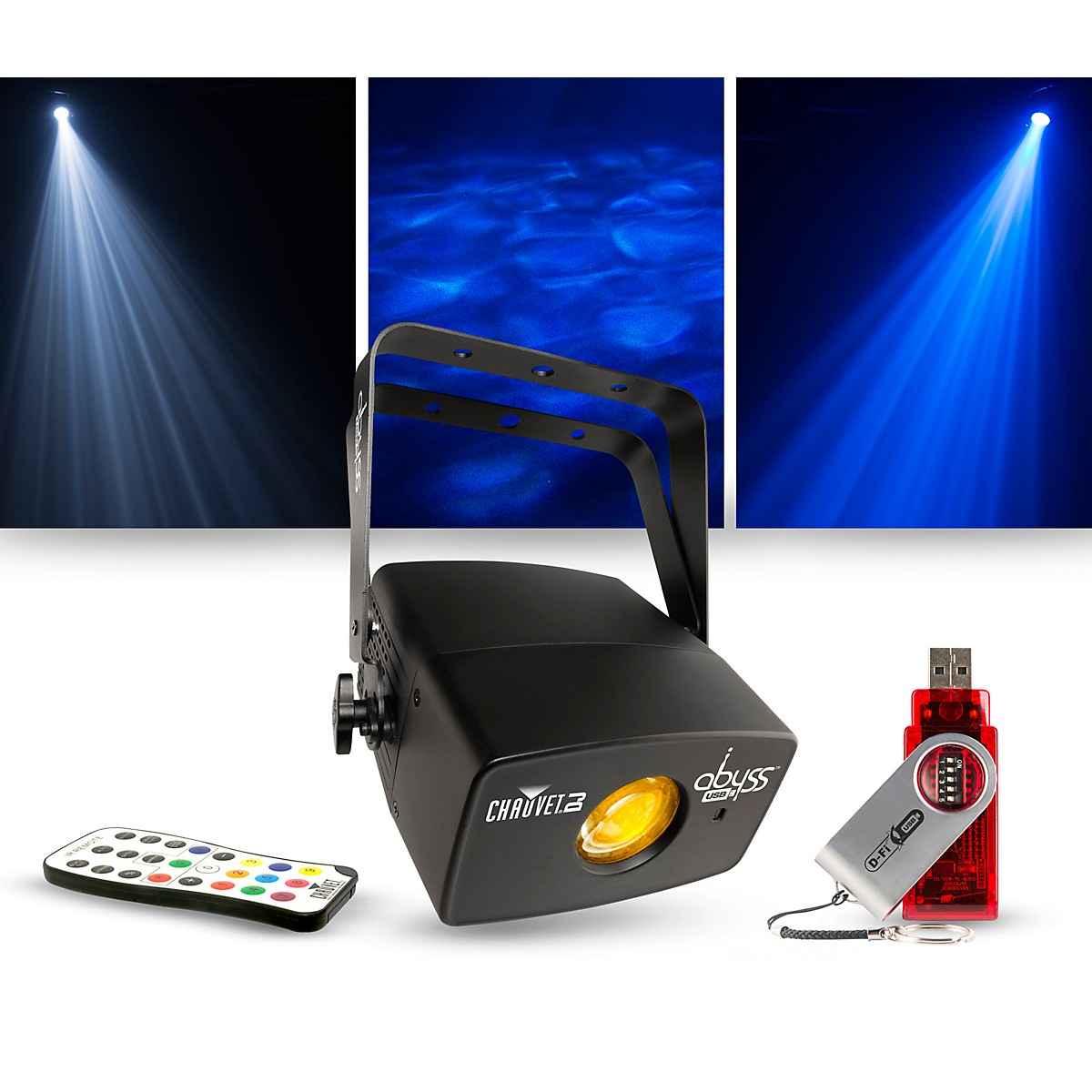 CHAUVET DJ Lighting Package with Abyss USB Multicolored Water Effect with IRC-6 and D-Fi Controllers